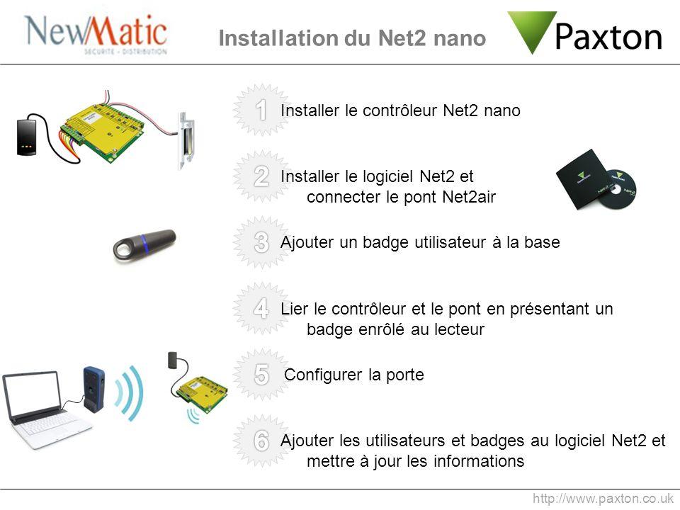 Installer le contrôleur Net2 nano Installation du Net2 nano http://www.paxton.co.uk Installer le logiciel Net2 et connecter le pont Net2air Ajouter un