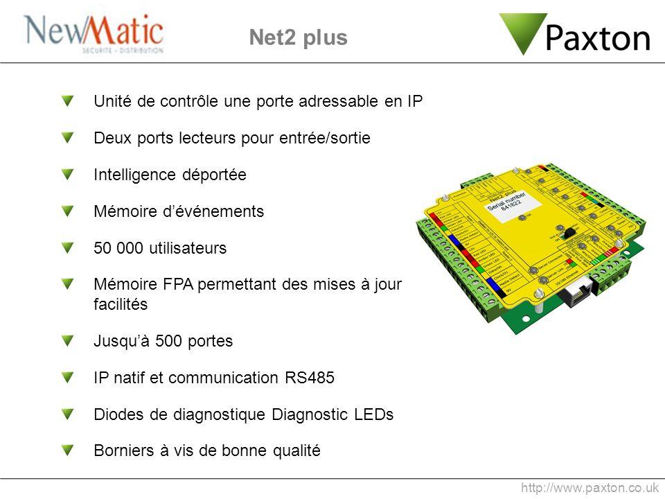 Unité de contrôle une porte adressable en IP Deux ports lecteurs pour entrée/sortie Intelligence déportée Mémoire dévénements 50 000 utilisateurs Mémo