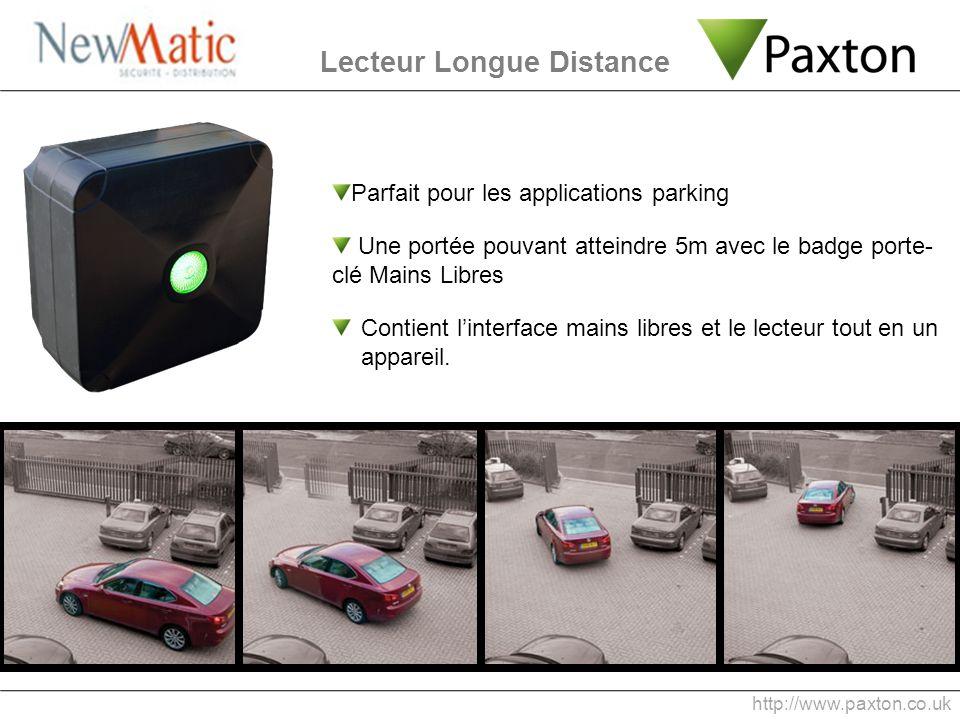 Parfait pour les applications parking Une portée pouvant atteindre 5m avec le badge porte- clé Mains Libres Contient linterface mains libres et le lec