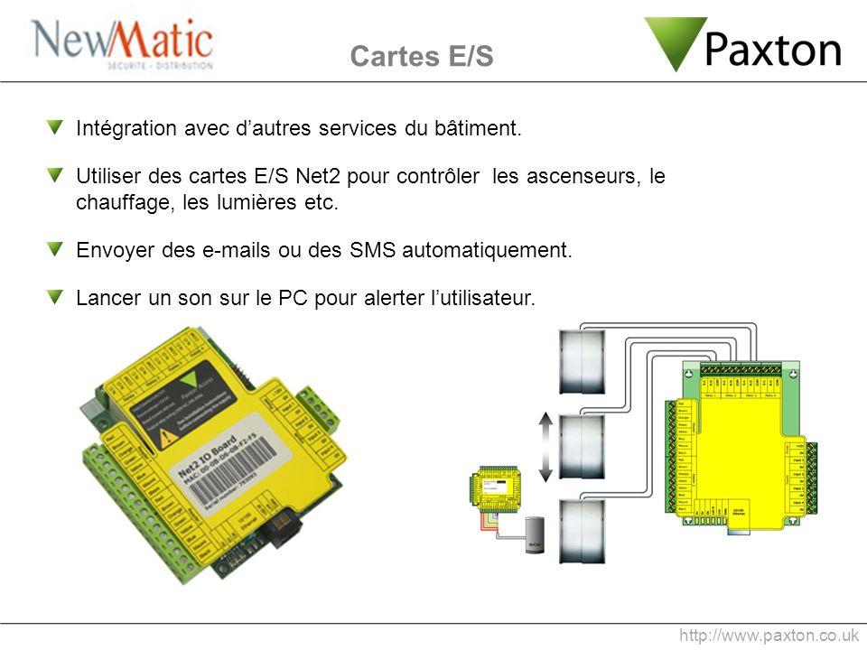 Cartes E/S Intégration avec dautres services du bâtiment. Utiliser des cartes E/S Net2 pour contrôler les ascenseurs, le chauffage, les lumières etc.