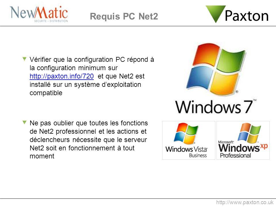 Vérifier que la configuration PC répond à la configuration minimum sur http://paxton.info/720 et que Net2 est installé sur un système dexploitation co