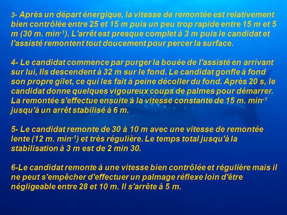 3- Après un départ énergique, la vitesse de remontée est relativement bien contrôlée entre 25 et 15 m puis un peu trop rapide entre 15 m et 5 m (30 m.