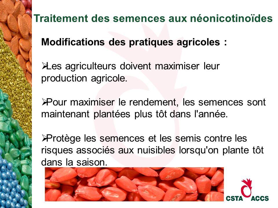 Traitement des semences aux néonicotinoïdes Modifications des pratiques agricoles : Les agriculteurs doivent maximiser leur production agricole. Pour