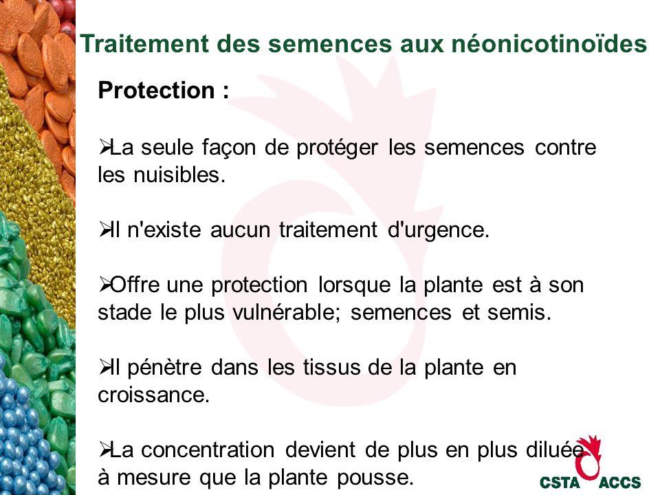 Traitement des semences aux néonicotinoïdes Protection : La seule façon de protéger les semences contre les nuisibles. Il n'existe aucun traitement d'