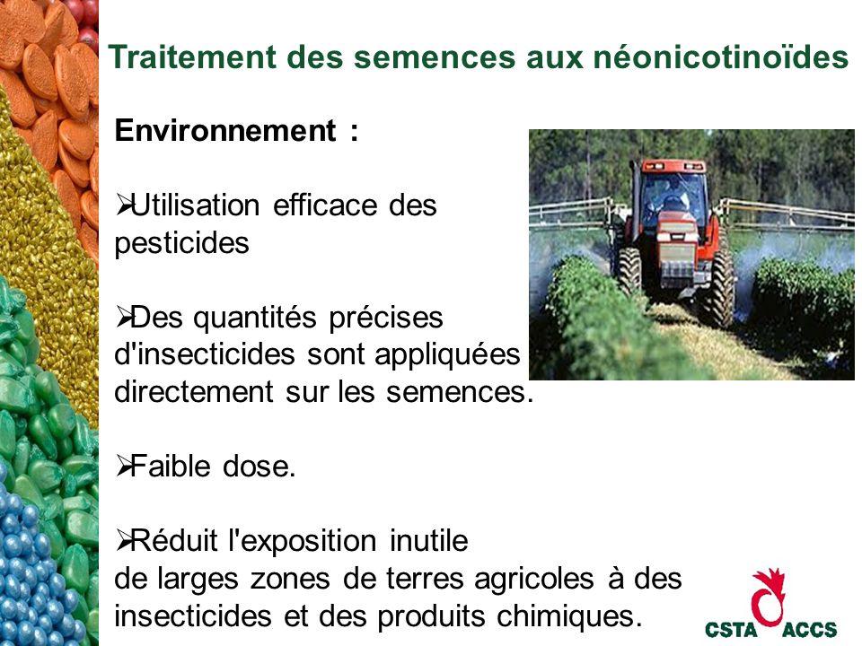 Traitement des semences aux néonicotinoïdes Environnement : Utilisation efficace des pesticides Des quantités précises d'insecticides sont appliquées