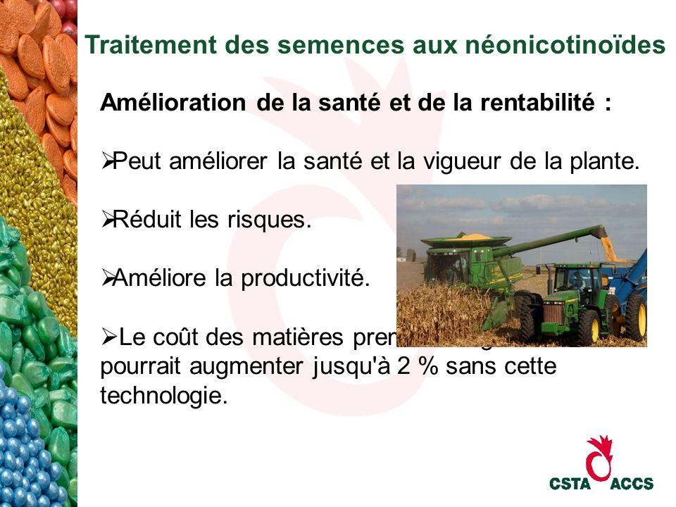 Traitement des semences aux néonicotinoïdes Amélioration de la santé et de la rentabilité : Peut améliorer la santé et la vigueur de la plante. Réduit