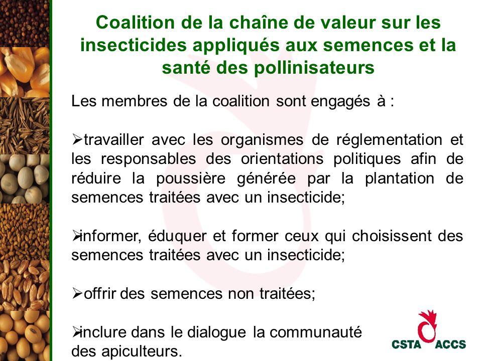 Coalition de la chaîne de valeur sur les insecticides appliqués aux semences et la santé des pollinisateurs Les membres de la coalition sont engagés à