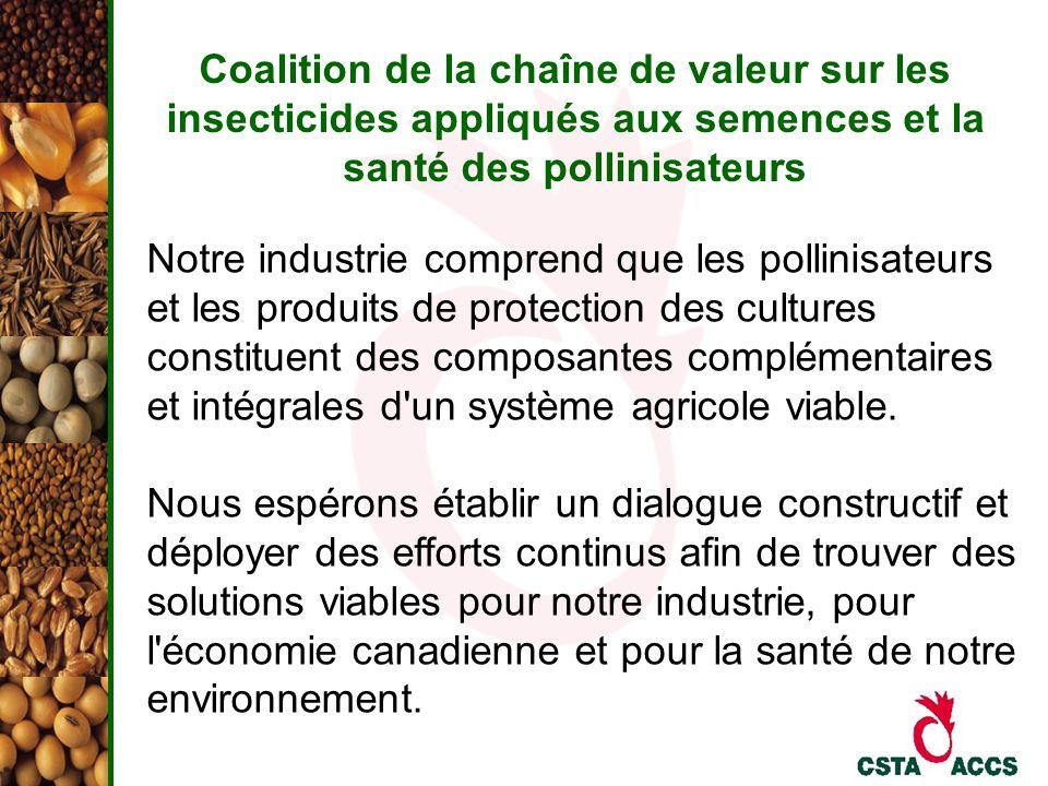 Coalition de la chaîne de valeur sur les insecticides appliqués aux semences et la santé des pollinisateurs Notre industrie comprend que les pollinisa