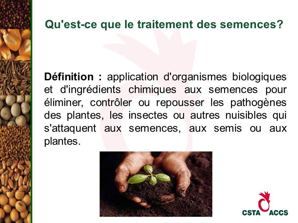 Qu'est-ce que le traitement des semences? Définition : application d'organismes biologiques et d'ingrédients chimiques aux semences pour éliminer, con