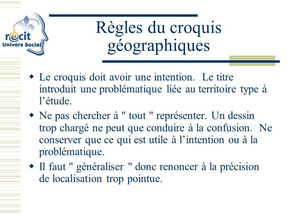 Règles du croquis géographiques Le croquis doit avoir une intention.