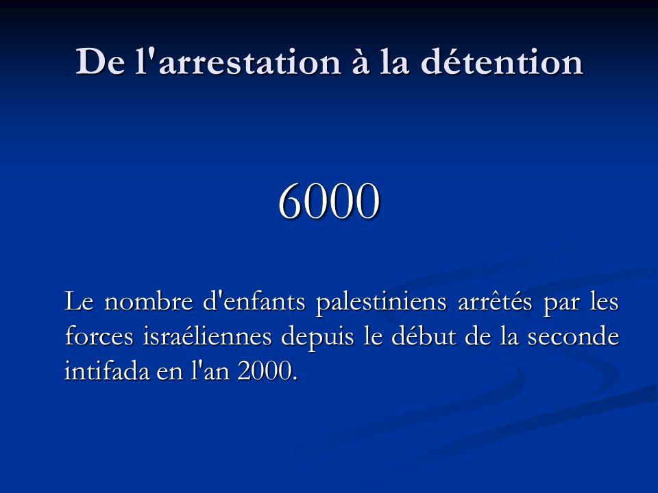De l arrestation à la détention 6000 Le nombre d enfants palestiniens arrêtés par les forces israéliennes depuis le début de la seconde intifada en l an 2000.