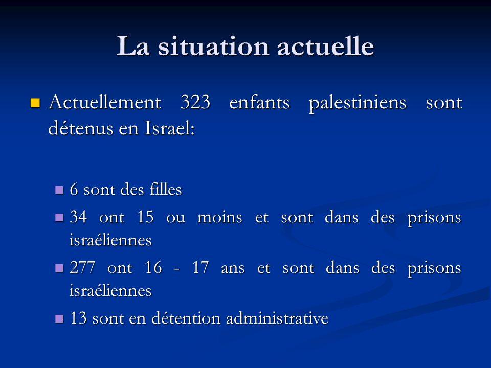 La situation actuelle Actuellement 323 enfants palestiniens sont détenus en Israel: Actuellement 323 enfants palestiniens sont détenus en Israel: 6 sont des filles 6 sont des filles 34 ont 15 ou moins et sont dans des prisons israéliennes 34 ont 15 ou moins et sont dans des prisons israéliennes 277 ont 16 - 17 ans et sont dans des prisons israéliennes 277 ont 16 - 17 ans et sont dans des prisons israéliennes 13 sont en détention administrative 13 sont en détention administrative