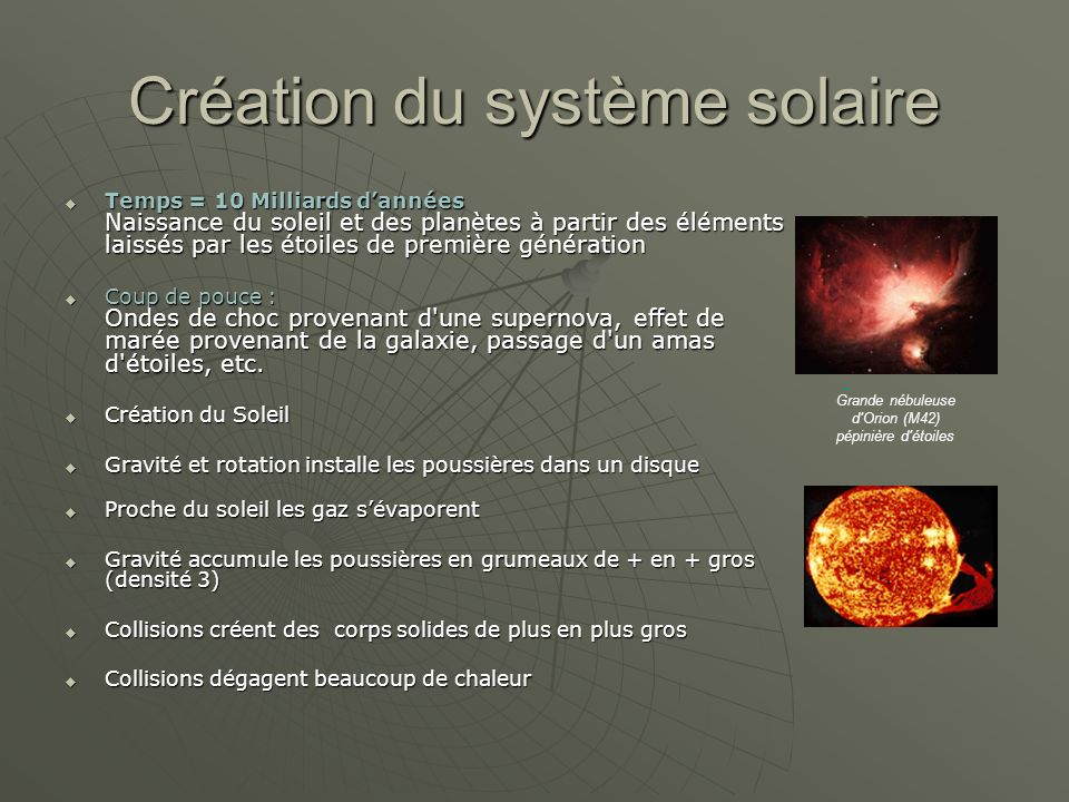 Création du système solaire Temps = 10 Milliards dannées Naissance du soleil et des planètes à partir des éléments laissés par les étoiles de première génération Temps = 10 Milliards dannées Naissance du soleil et des planètes à partir des éléments laissés par les étoiles de première génération Coup de pouce : Ondes de choc provenant d une supernova, effet de marée provenant de la galaxie, passage d un amas d étoiles, etc.