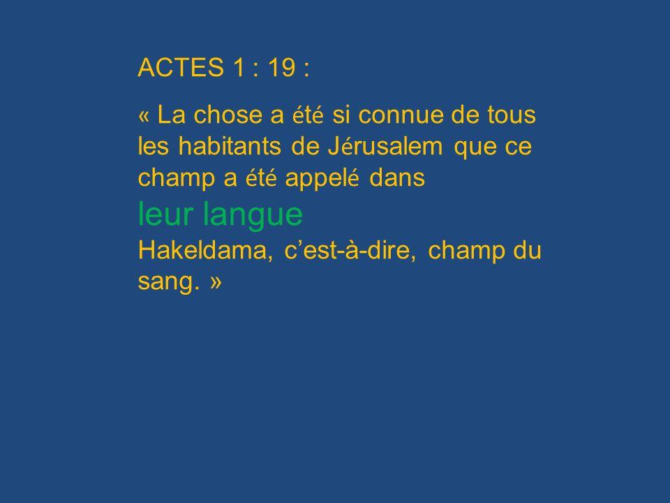ACTES 1 : 19 : « La chose a é t é si connue de tous les habitants de J é rusalem que ce champ a é t é appel é dans leur langue Hakeldama, cest-à-dire,