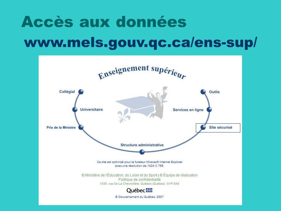 www.mels.gouv.qc.ca/ens-sup/ Accès aux données