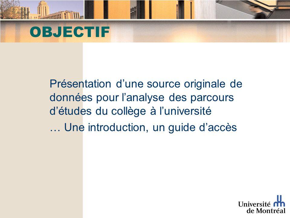 OBJECTIF Présentation dune source originale de données pour lanalyse des parcours détudes du collège à luniversité … Une introduction, un guide daccès