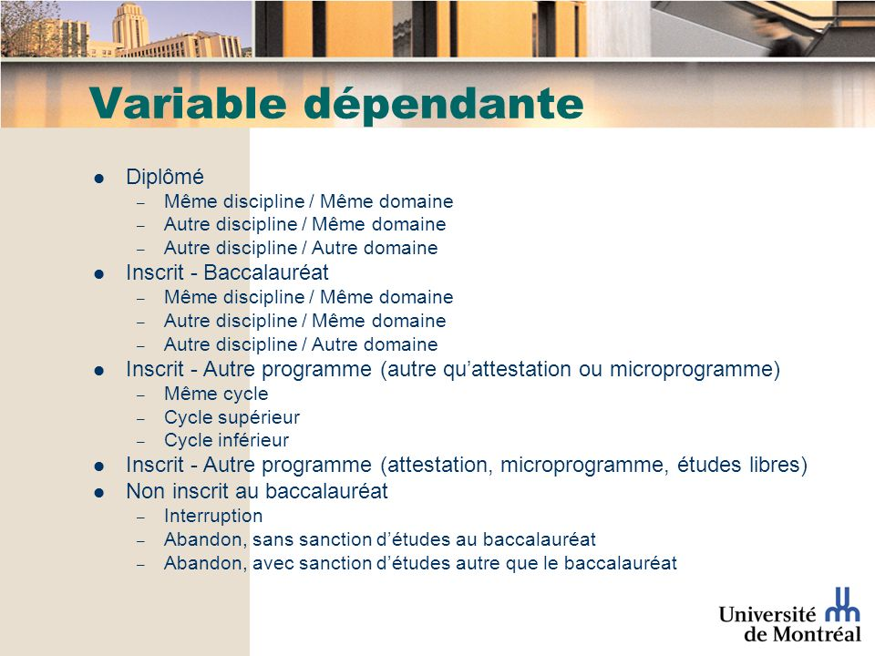 Variable dépendante Diplômé – Même discipline / Même domaine – Autre discipline / Même domaine – Autre discipline / Autre domaine Inscrit - Baccalauré