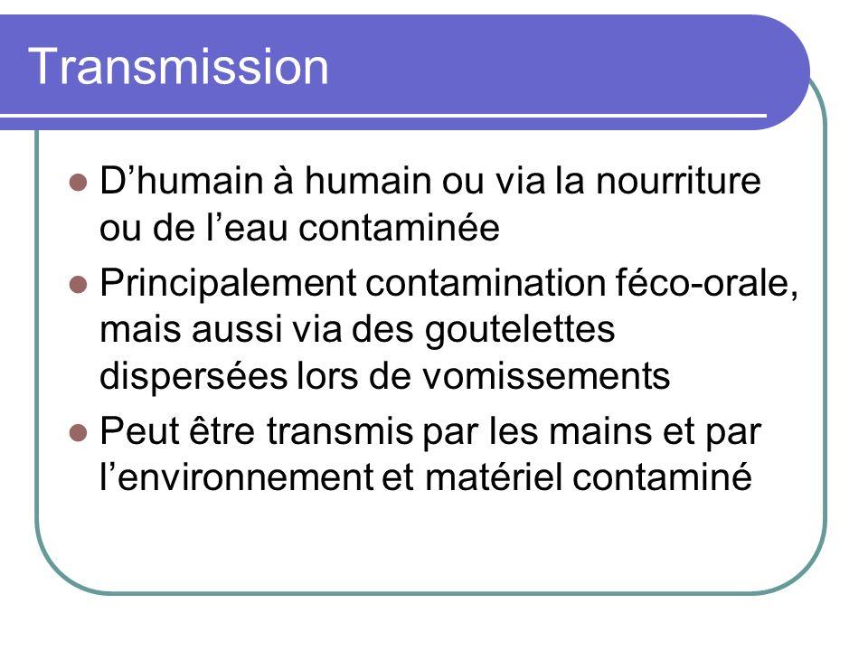 Transmission Dhumain à humain ou via la nourriture ou de leau contaminée Principalement contamination féco-orale, mais aussi via des goutelettes dispe