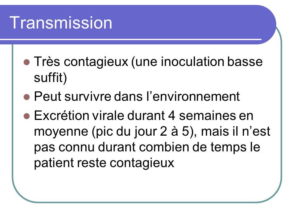 Transmission Très contagieux (une inoculation basse suffit) Peut survivre dans lenvironnement Excrétion virale durant 4 semaines en moyenne (pic du jo