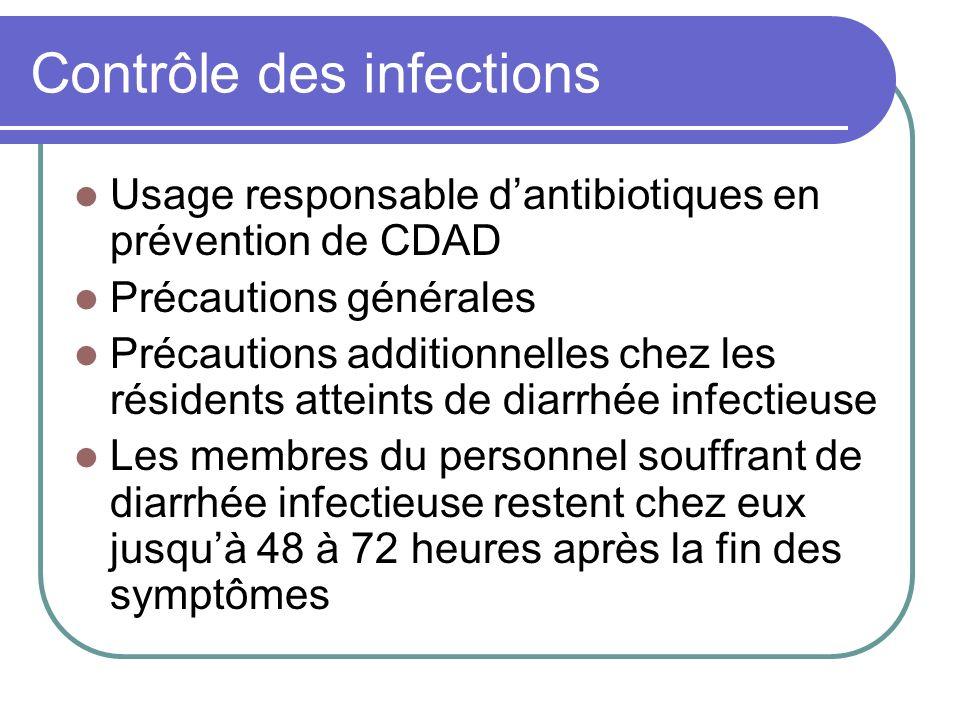 Contrôle des infections Usage responsable dantibiotiques en prévention de CDAD Précautions générales Précautions additionnelles chez les résidents att
