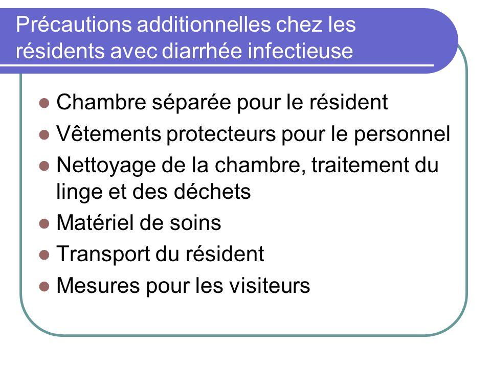 Précautions additionnelles chez les résidents avec diarrhée infectieuse Chambre séparée pour le résident Vêtements protecteurs pour le personnel Netto