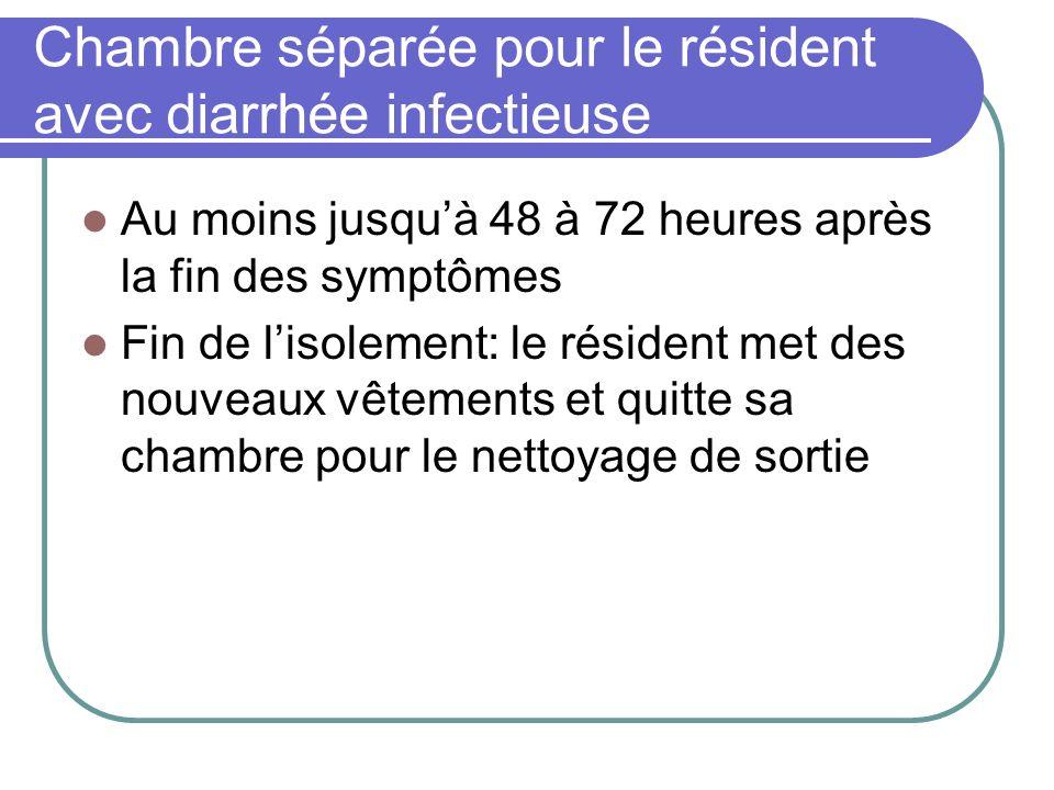 Chambre séparée pour le résident avec diarrhée infectieuse Au moins jusquà 48 à 72 heures après la fin des symptômes Fin de lisolement: le résident me