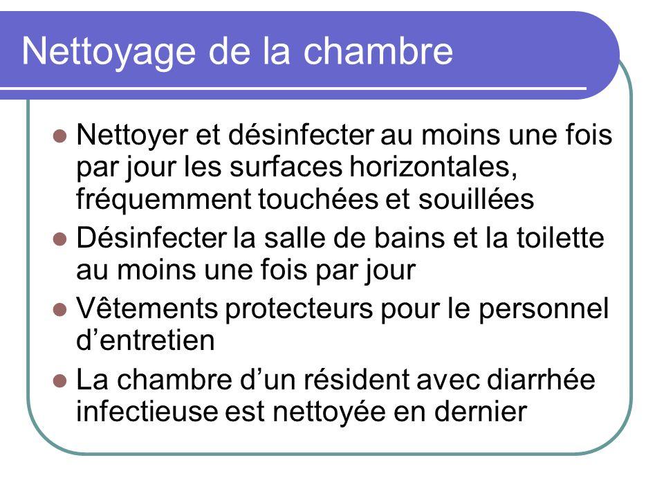 Nettoyage de la chambre Nettoyer et désinfecter au moins une fois par jour les surfaces horizontales, fréquemment touchées et souillées Désinfecter la