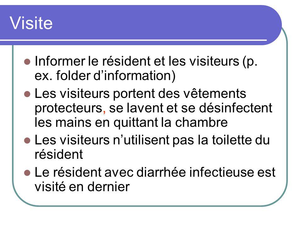 Visite Informer le résident et les visiteurs (p. ex. folder dinformation) Les visiteurs portent des vêtements protecteurs, se lavent et se désinfecten