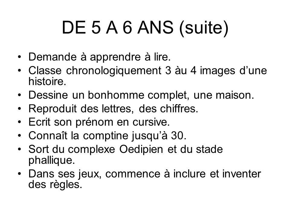 DE 5 A 6 ANS (suite) Demande à apprendre à lire. Classe chronologiquement 3 àu 4 images dune histoire. Dessine un bonhomme complet, une maison. Reprod