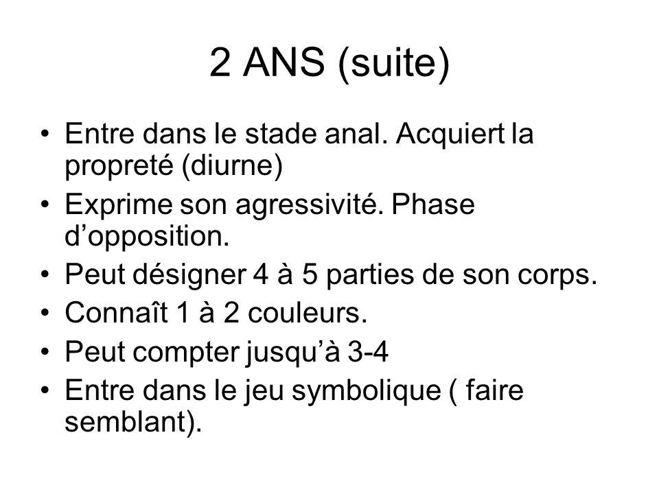 2 ANS (suite) Entre dans le stade anal. Acquiert la propreté (diurne) Exprime son agressivité. Phase dopposition. Peut désigner 4 à 5 parties de son c