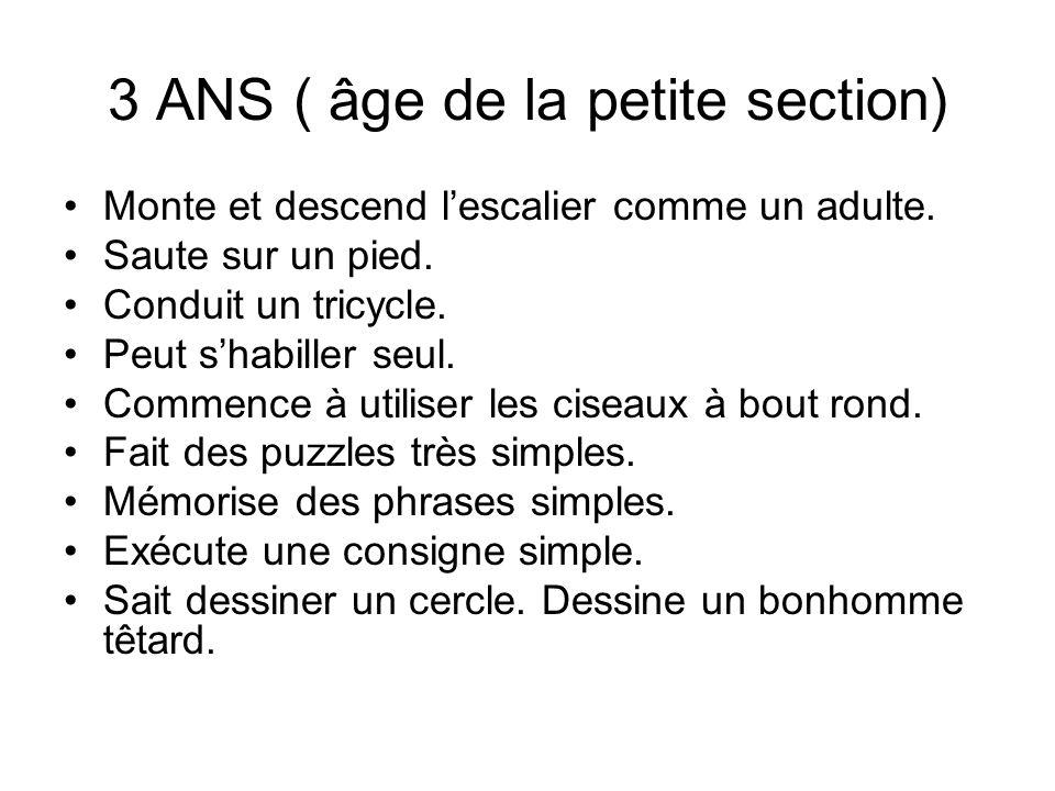 3 ANS (suite) Compte jusquà 10 Dit son nom, son âge, son sexe.