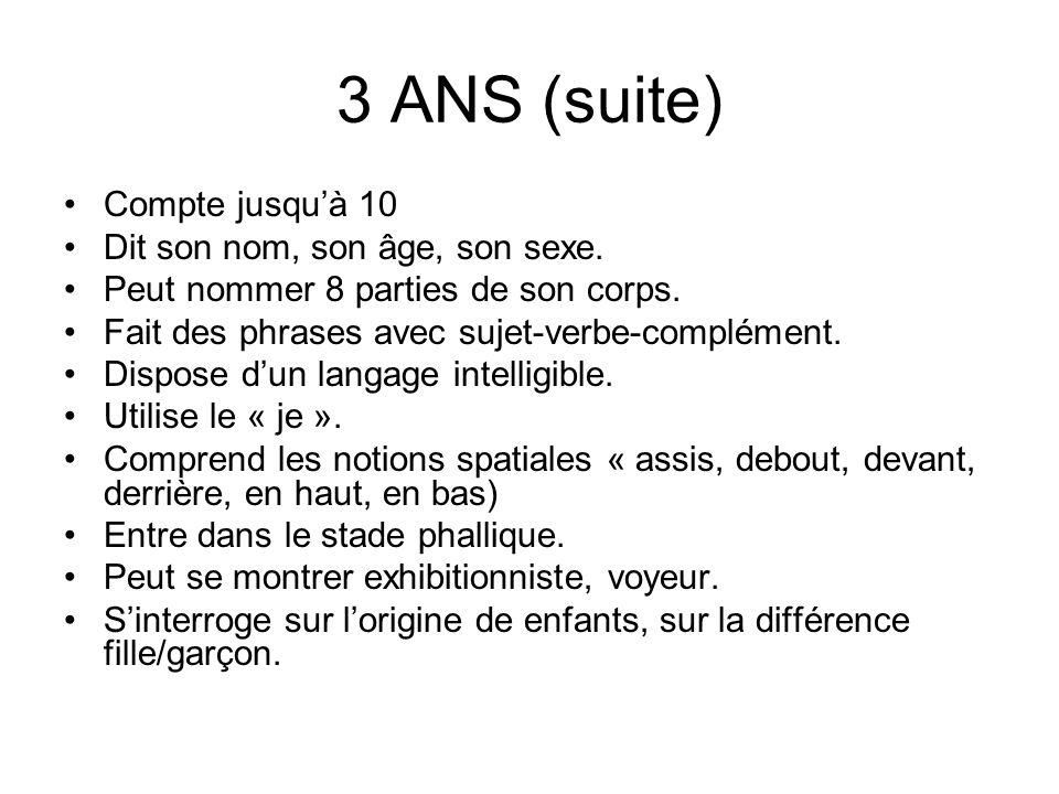 3 ANS (suite) Compte jusquà 10 Dit son nom, son âge, son sexe. Peut nommer 8 parties de son corps. Fait des phrases avec sujet-verbe-complément. Dispo