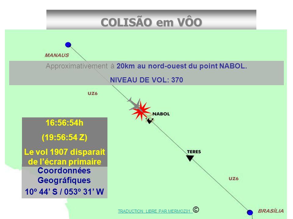 COLISÃO em VÔO Cel. Rufino/CENIPA Coordonnées Geográfiques 10º 44 S / 053º 31 W 16:56:54h (19:56:54 Z) Le vol 1907 disparait de lécran primaire Approx