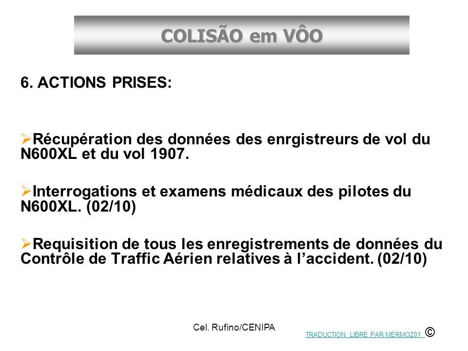 COLISÃO em VÔO Cel. Rufino/CENIPA 6. ACTIONS PRISES: Récupération des données des enrgistreurs de vol du N600XL et du vol 1907. Interrogations et exam
