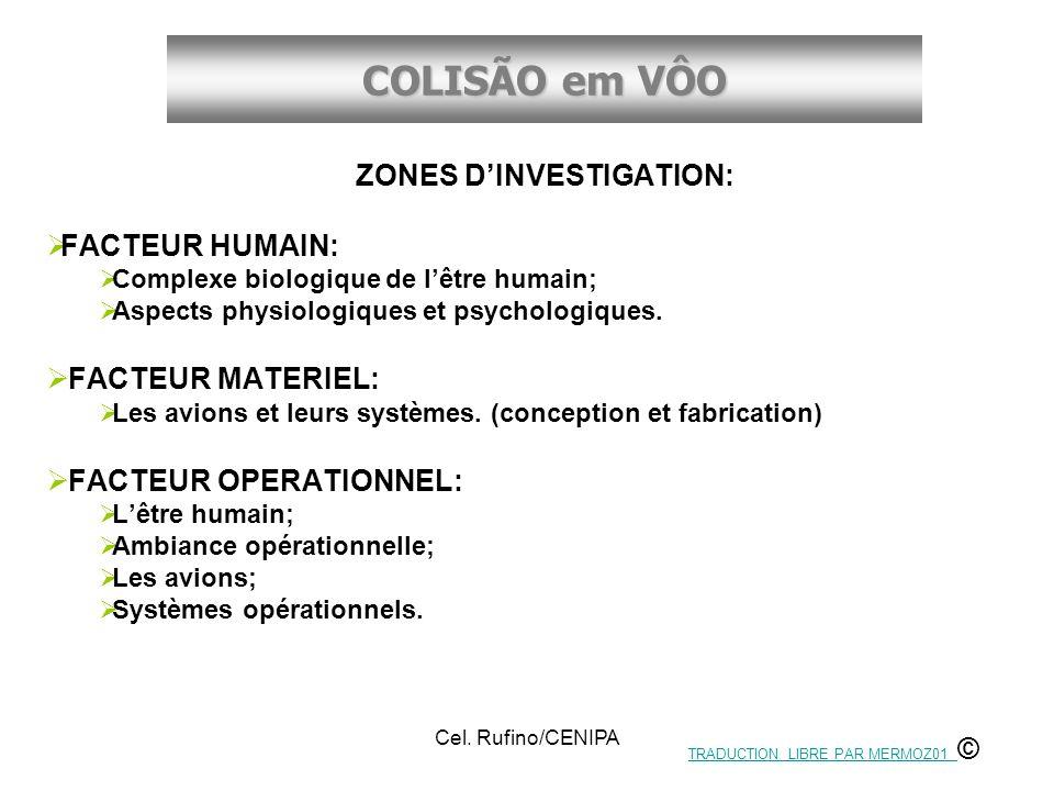 COLISÃO em VÔO Cel. Rufino/CENIPA ZONES DINVESTIGATION: FACTEUR HUMAIN: Complexe biologique de lêtre humain; Aspects physiologiques et psychologiques.