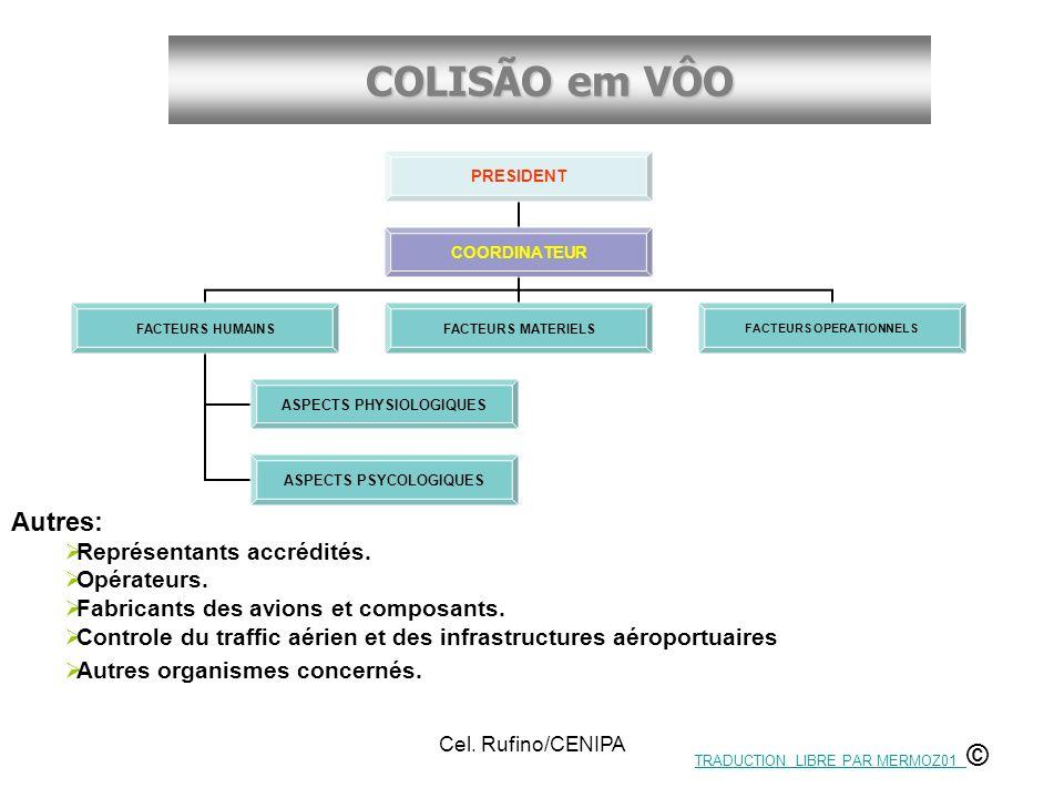 COLISÃO em VÔO Cel. Rufino/CENIPA Autres: Représentants accrédités. Opérateurs. Fabricants des avions et composants. Controle du traffic aérien et des