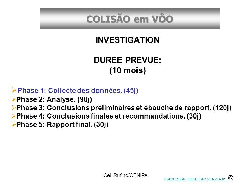 COLISÃO em VÔO Cel. Rufino/CENIPA INVESTIGATION DUREE PREVUE: (10 mois) Phase 1: Collecte des données. (45j) Phase 2: Analyse. (90j) Phase 3: Conclusi