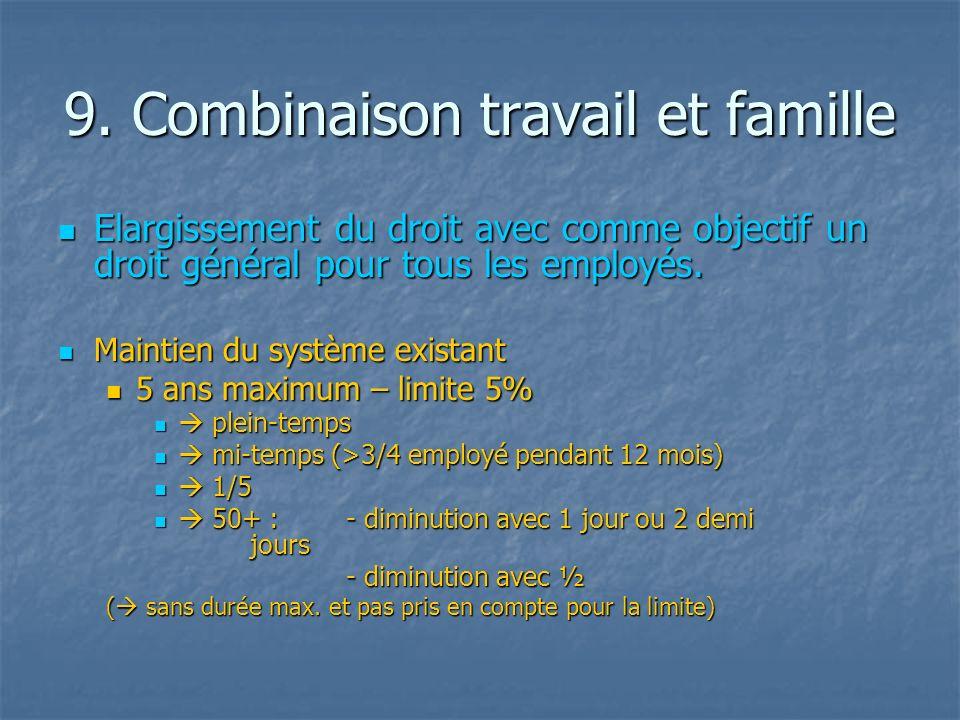 9. Combinaison travail et famille Elargissement du droit avec comme objectif un droit général pour tous les employés. Elargissement du droit avec comm