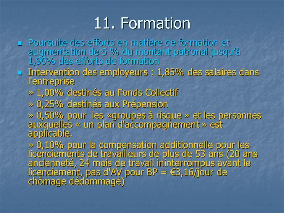 11. Formation Poursuite des efforts en matière de formation et augmentation de 5 % du montant patronal jusquà 1,90% des efforts de formation Poursuite