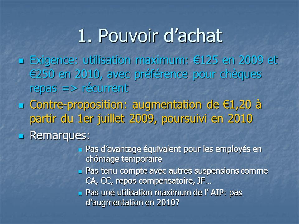 1. Pouvoir dachat Exigence: utilisation maximum: 125 en 2009 et 250 en 2010, avec préférence pour chèques repas => récurrent Exigence: utilisation max