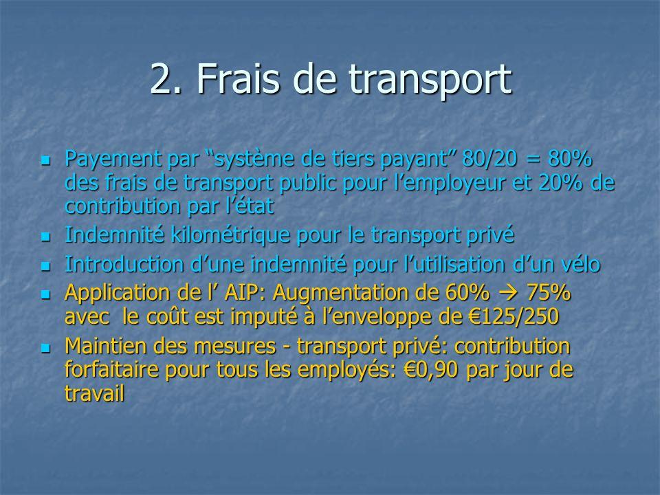2. Frais de transport Payement par système de tiers payant 80/20 = 80% des frais de transport public pour lemployeur et 20% de contribution par létat