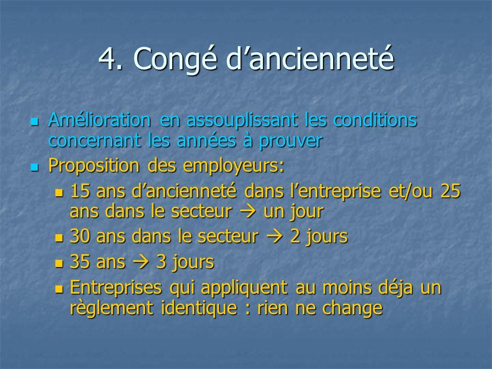 4. Congé dancienneté Amélioration en assouplissant les conditions concernant les années à prouver Amélioration en assouplissant les conditions concern