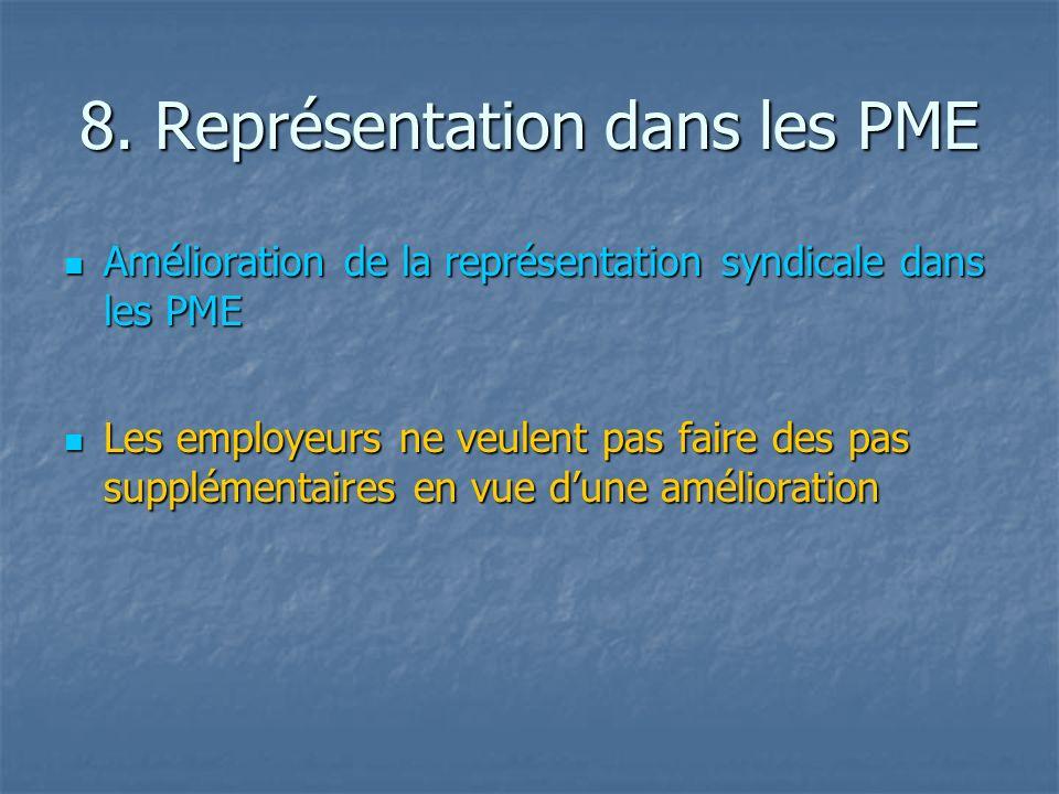 8. Représentation dans les PME Amélioration de la représentation syndicale dans les PME Amélioration de la représentation syndicale dans les PME Les e