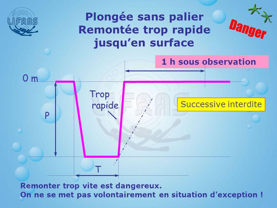 1 h sous observation Plongée sans palier Remontée trop rapide jusquen surface Danger Successive interdite Remonter trop vite est dangereux. On ne se m