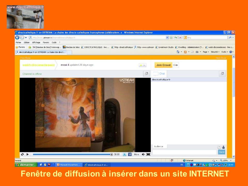 Fenêtre de diffusion à insérer dans un site INTERNET