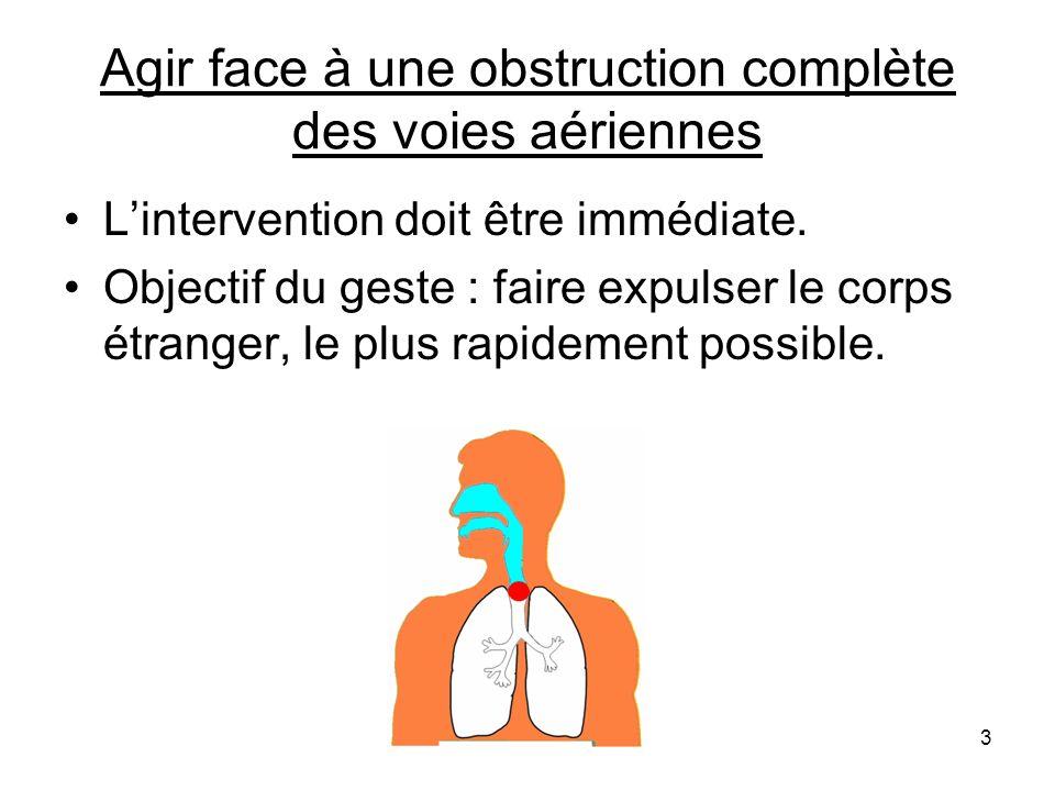 Premier geste : les claques dorsales Principe du geste : décoller le corps étranger à laide de vibrations et créer un réflexe de toux pour lexpulser.