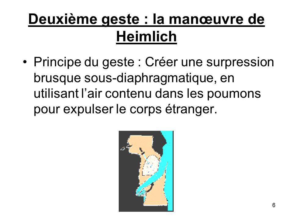Description du geste Position pour exercer la pression : derrière la victime, le dos de la personne plaquée contre sa poitrine pour effectuer les pressions vers soi.