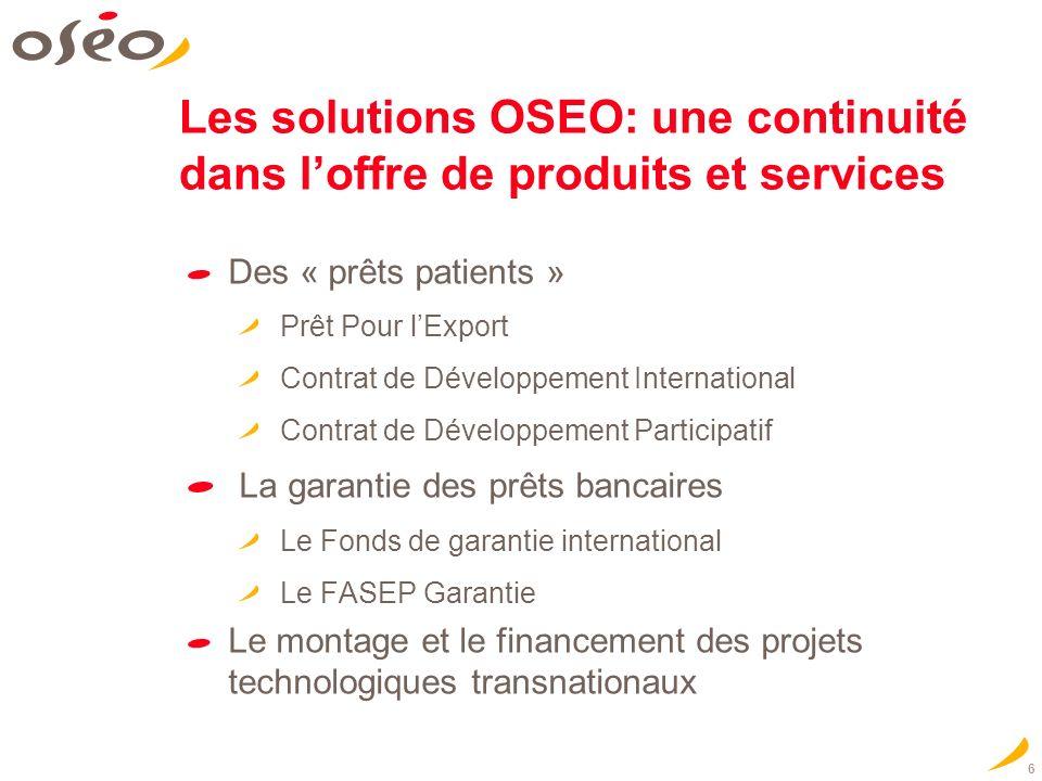 6 Les solutions OSEO: une continuité dans loffre de produits et services Des « prêts patients » Prêt Pour lExport Contrat de Développement Internation
