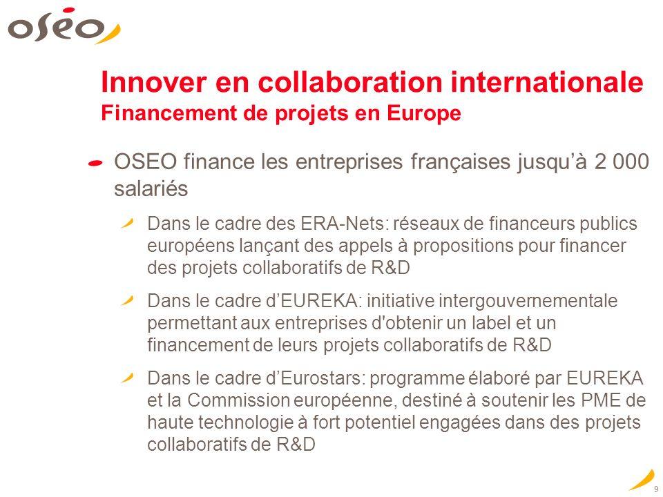 9 Innover en collaboration internationale Financement de projets en Europe OSEO finance les entreprises françaises jusquà 2 000 salariés Dans le cadre des ERA-Nets: réseaux de financeurs publics européens lançant des appels à propositions pour financer des projets collaboratifs de R&D Dans le cadre dEUREKA: initiative intergouvernementale permettant aux entreprises d obtenir un label et un financement de leurs projets collaboratifs de R&D Dans le cadre dEurostars: programme élaboré par EUREKA et la Commission européenne, destiné à soutenir les PME de haute technologie à fort potentiel engagées dans des projets collaboratifs de R&D