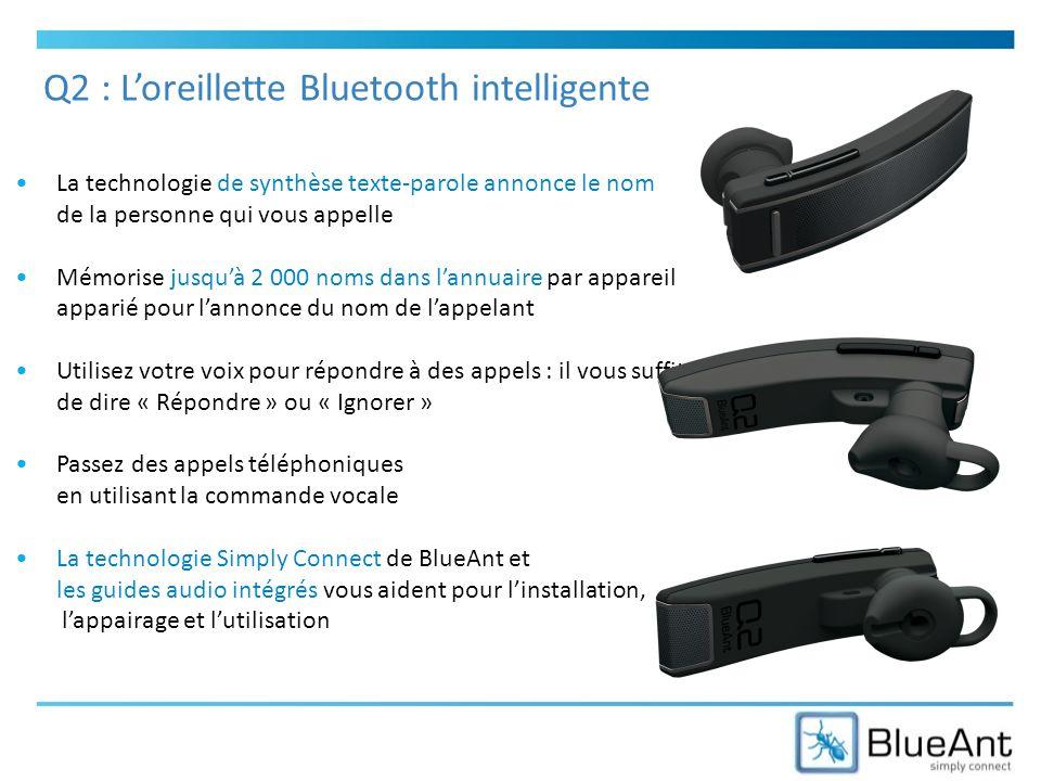 La technologie de synthèse texte-parole annonce le nom de la personne qui vous appelle Mémorise jusquà 2 000 noms dans lannuaire par appareil apparié pour lannonce du nom de lappelant Utilisez votre voix pour répondre à des appels : il vous suffit de dire « Répondre » ou « Ignorer » Passez des appels téléphoniques en utilisant la commande vocale La technologie Simply Connect de BlueAnt et les guides audio intégrés vous aident pour linstallation, lappairage et lutilisation Q2 : Loreillette Bluetooth intelligente